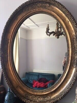 Large Antique 19th century Oval Gold Mirror