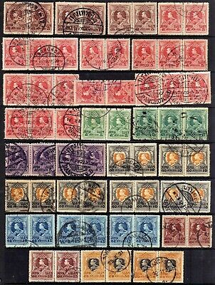 Thailand Siam Used Bulk: 1920-25 Multiples Selection, 62 Stamps