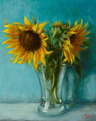 """Still Life with Sunflowers Original Oil Painting 8""""x10"""" / Alexei Pal"""