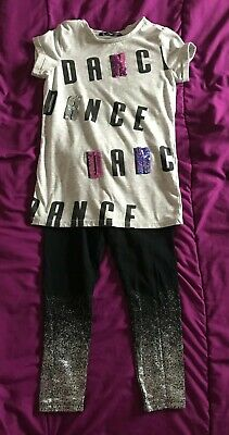 Girls 2pc Dance outfit Top Leggings 4-5yrs