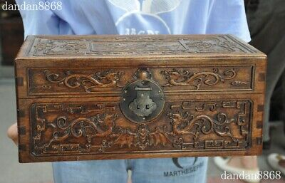Old dynasty Huanghuali Wood Carve Dragon beast Peach Jewelry Storage Box Cabinet