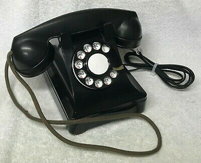 Vintage 1940s WESTERN ELECTRIC Black 302E 6-46 Rotary Dial Desktop Telephone