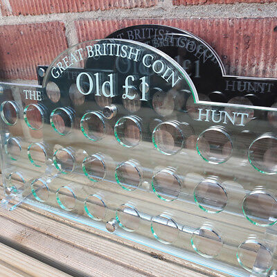 Old £1 Coin Display Holder | 24 slot 3 layer acrylic coin collection display **