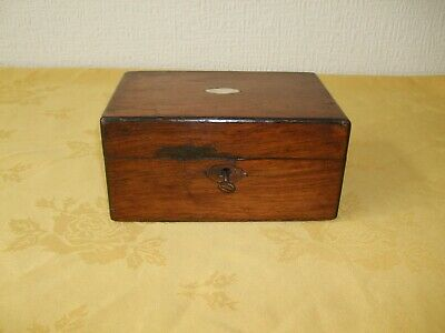 Antique Mahogany Wooden Box With Lock & Key For Restoration.