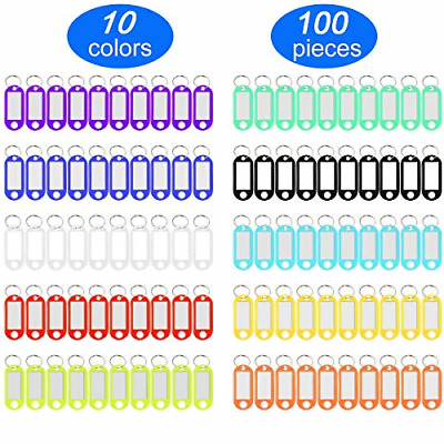 100 Pack Tough Plastic Key Tags with Label Window ID Luggage Tag Split Ring Key