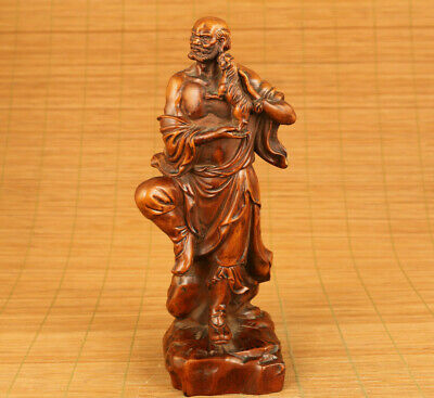 Asian old boxwood hand carved Bodhidharma figure statue netsuke table decoration