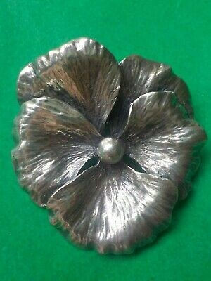 Vintage Napier Sterling Silver Pansy Pin Excellent
