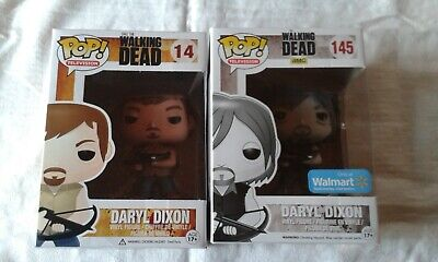Funko Pop! TV-The Walking Dead Daryl  #14 plus Daryl #145 Walmart Edition Black