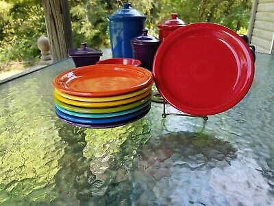 """set 8 SALAD bistro PLATE turquoise scarlet daffodil mulberry FIESTA 7 1/4"""" new"""