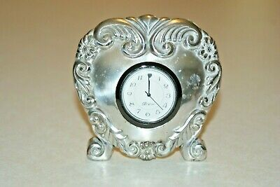 BRIGHTON Silver Scroll Heart-Shaped Footed Desk Clock New Battery
