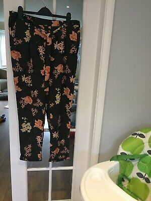 Dorothy Perkins Floral Patterned Khaki Trousers Belted Size 16