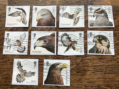 GB 2019 Stamps BIRDS OF PREY set Of 10 Used On Paper