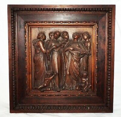 19C European Religious Church Wooden Carving of Female Figures & Angels (NoN)