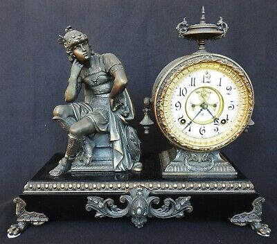 Antique figural Mercury God Mantle Clock by Ansonia New York circa 1886 - 1894