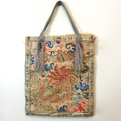 Antique Chinese Forbidden Stitch Purse Silk Embroidered Bag Handbag
