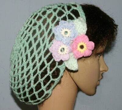 Ladies 1940's hand crochet snood with floral decoration (1)