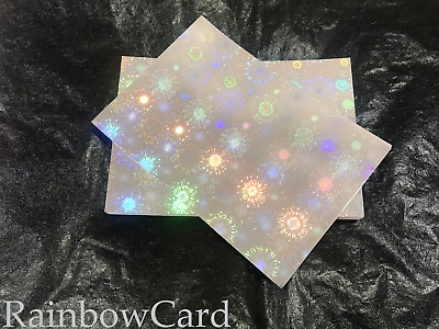 20 Sheets - Blast Silver Rainbow Holographic A4 Crafting Card 290 Gsm