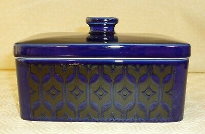 Vintage Hornsea Heirloom Blue butter dish with lid - 1970's retro dining