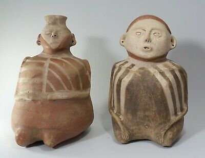 REPRO Vintage Mississippian Quapaw Seated Male Female Painted Pottery Vessel LOT