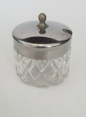 Vintage Pressed Glass Mustard Pot Silver Metal Lid