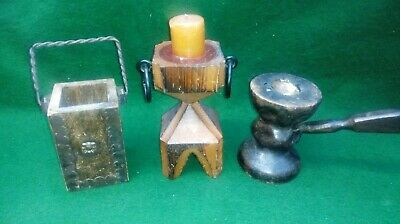 3 Unusual Vintage items of treen -2 candle holders including gavel and a pen pot
