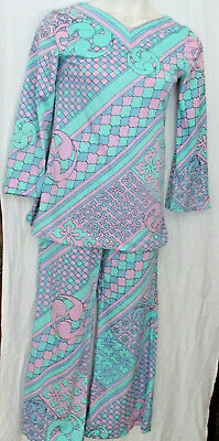 WOMENS COLLECTIBLE 1960s SAKS FIFTH AVE 2 PC POLY MID CENTURY MOD BLOUSE PANT M