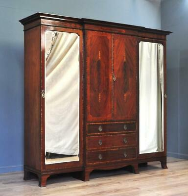 Quality Large Antique Victorian Inlaid Mahogany Triple Combination Wardrobe