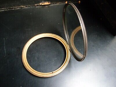 ANTIQUE BRASS BEZEL & BEVELLED GLASS DOOR 14.5cm DIAMETER OVERALL FITS 12cm DIAL