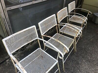Set of 4 VINTAGE  mid century WHITE WROUGHT IRON PATIO DINING CHAIRS