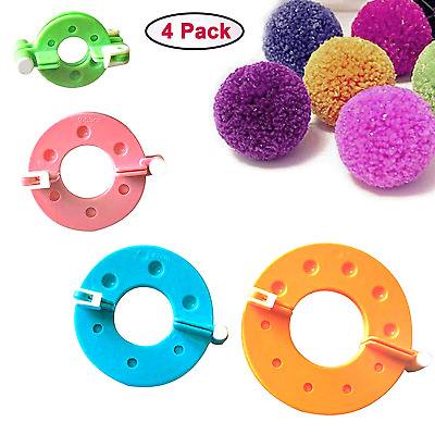 4 Piece Plastic Pom Pom Maker Kit with Assorted Sizes by Curtzy - 9, 7, 5.5 and