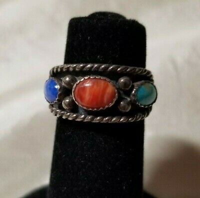Carolyn Pollack Sterling Silver  Turquoise Coral Lapis Band  Ring Size 5 Signed