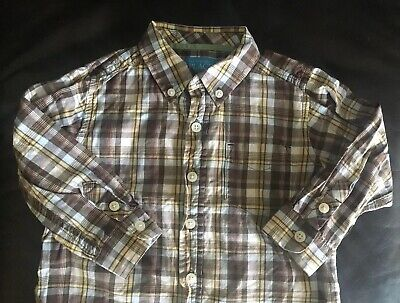 The Childrens Place Toddler Boy 24 Months Brown Plaid Long Sleeve Collared Shirt