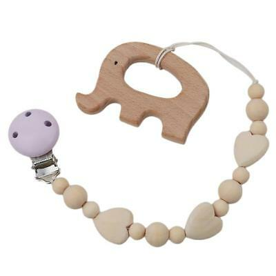Baby Silicone Teething Soother Bead Infant Dummy Clip Pacifier Chain Chew Toy 6N