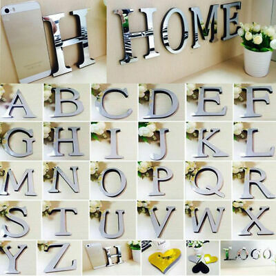 Acrylic Mirror 26 Alphabet Letters Name Plaques for Childrens Bedroom Door Wall~