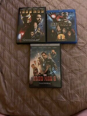 Iron Man 3 Movie Collection- Iron Man 1 & 3 Dvd Only. Iron Man 3 Blu Ray Only