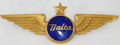 VTG 1940's DELTA AIRLINES 3rd Issue Blue Enamel FIRST OFFICER PILOT WINGS 3 1/4""