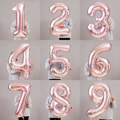 "Giant Rose Gold 0-9 Number Foil Balloons 40"" Digit Helium Ballon Party Decor yk"