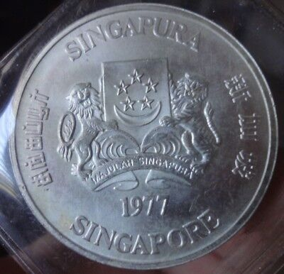 SINGAPORE $10 (1977) Unc Large Silver  Coin, Normal Issue, Great Bargain!!