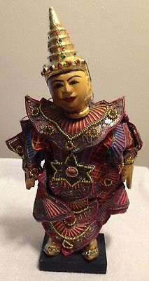 Vintage Indonesian Asian Wood String Marionette Puppet Gold Sequins With Stand