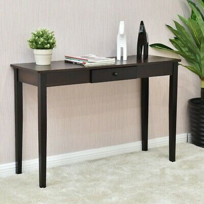 Wooden Entryway Side Sofa Home Room Accent Console Table Furniture Dark Walnut