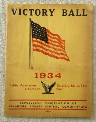 1934 Cleveland Ohio Republican Party Victory Ball Advertising Program Booklet
