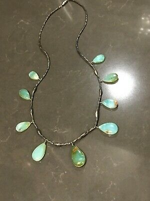 Estate Sterling Silver Jade And Opal Necklace Vintage Antique Chinese Asian Old