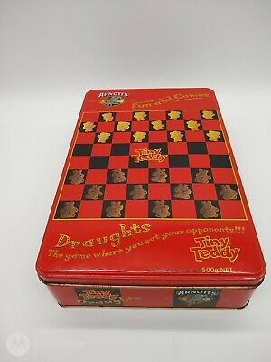 "ARNOTT'S TINY TEDDY Graphics ""FUN & GAMES"" DRAUGHTS BISCUIT TIN Hinged Lid"