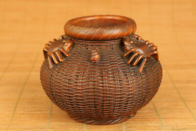 Fine chinese old boxwood hand carved crab pot statue