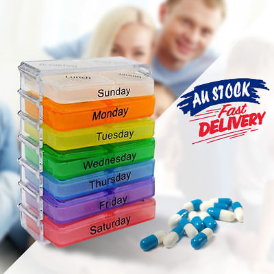 Weekly 7 Day Pill Box Medicine Storage Tablet Container Case Organizer H