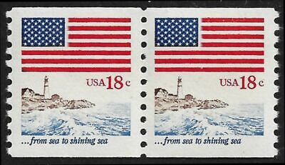RJames: US 1891 Flag over Seacoast coil pair, MNH, F/VF