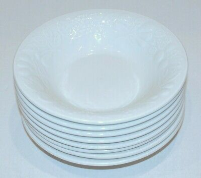 Set of 8 Gibson Off White Embossed Fruit Coupe Soup Cereal Bowls - 8""