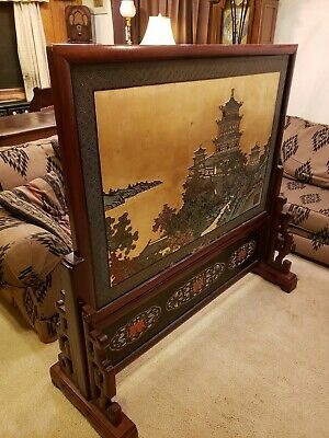 """54"""" Antique Taiwanese Wood Lacquered Table/Floor Screen. Asian room divider RARE"""