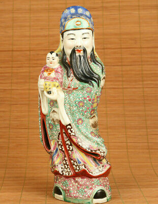 Big unique chinese old porcelain hand painting god of wealth statue antique