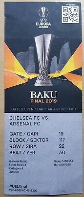 Europa League Final 2019 Chelsea Arsenal TICKET with TEAM NAMES